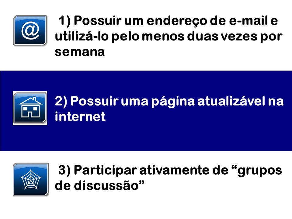 1) Possuir um endereço de e-mail e utilizá-lo pelo menos duas vezes por semana 2) Possuir uma página atualizável na internet 3) Participar ativamente