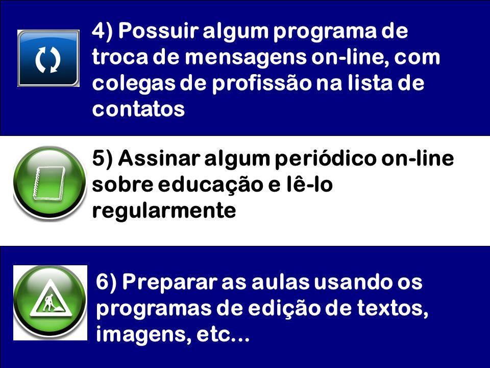 4) Possuir algum programa de troca de mensagens on-line, com colegas de profissão na lista de contatos 5) Assinar algum periódico on-line sobre educaç