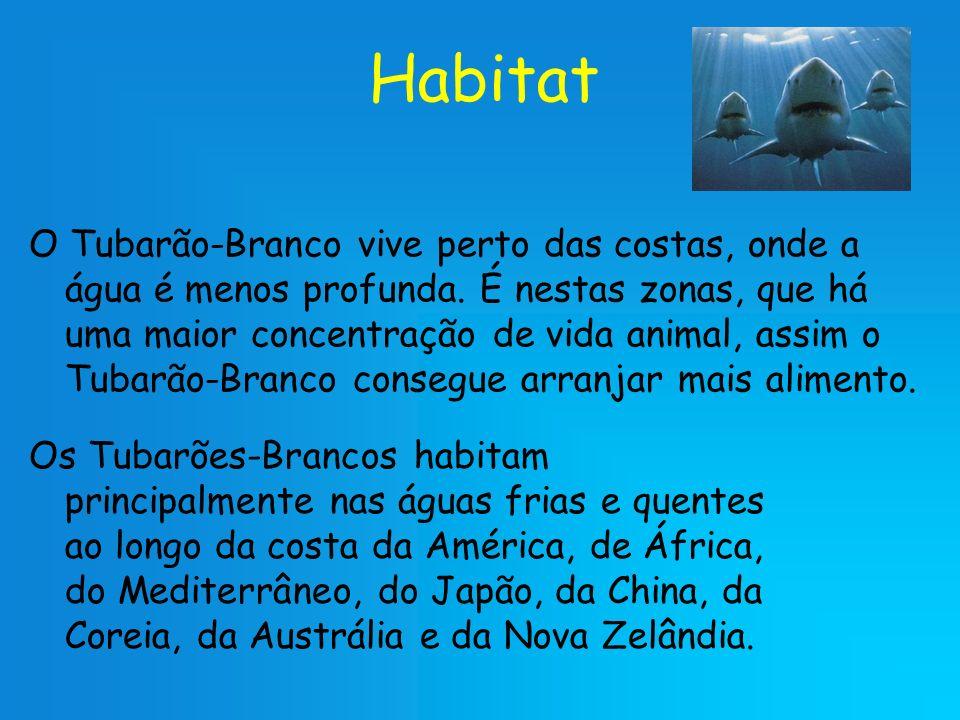 Habitat Os Tubarões-Brancos habitam principalmente nas águas frias e quentes ao longo da costa da América, de África, do Mediterrâneo, do Japão, da Ch