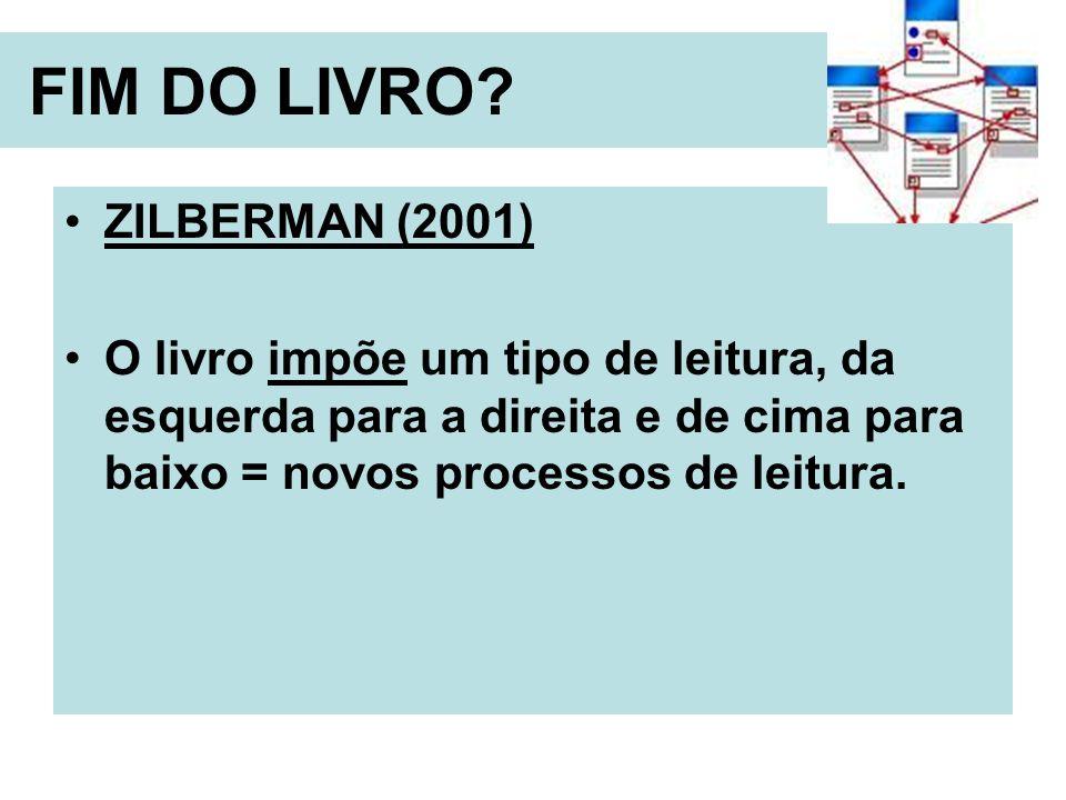 FIM DO LIVRO? ZILBERMAN (2001) O livro impõe um tipo de leitura, da esquerda para a direita e de cima para baixo = novos processos de leitura.