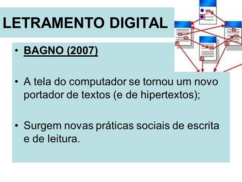 LETRAMENTO DIGITAL BAGNO (2007) A tela do computador se tornou um novo portador de textos (e de hipertextos); Surgem novas práticas sociais de escrita
