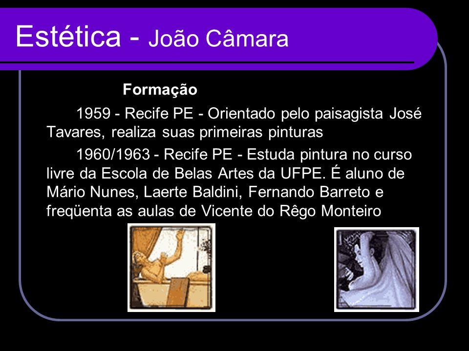 Estética - João Câmara Formação 1959 - Recife PE - Orientado pelo paisagista José Tavares, realiza suas primeiras pinturas 1960/1963 - Recife PE - Est