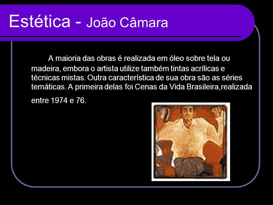 Estética - João Câmara A maioria das obras é realizada em óleo sobre tela ou madeira, embora o artista utilize também tintas acrílicas e técnicas mist