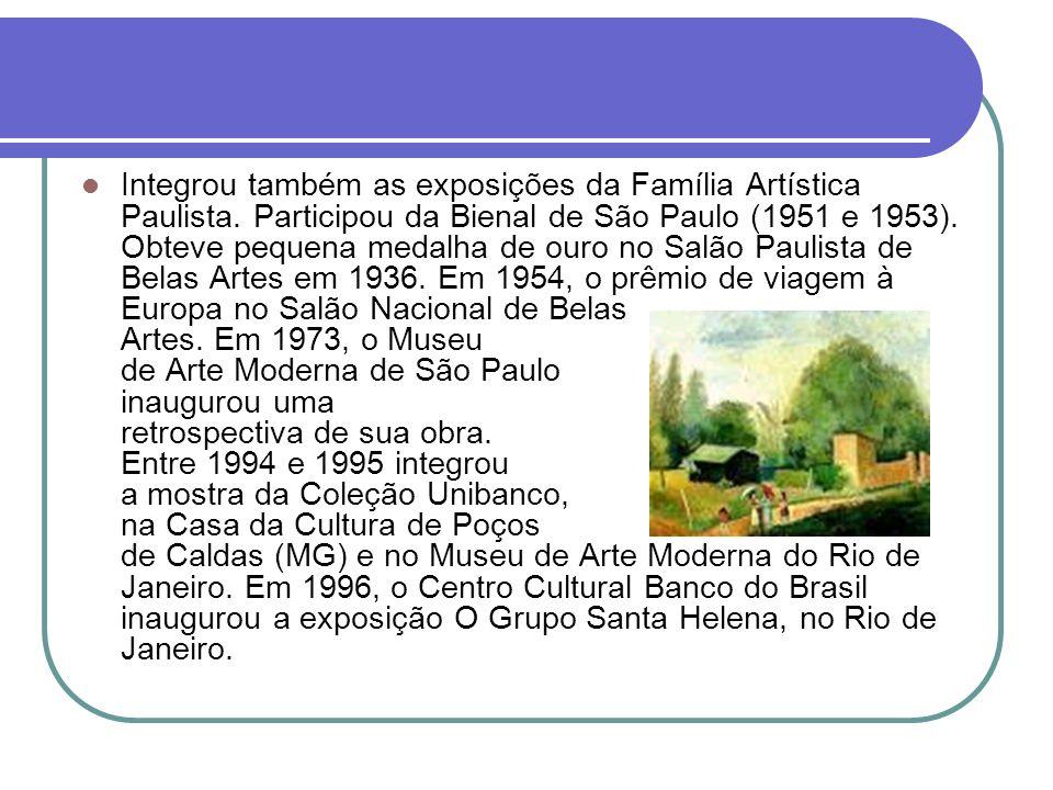 Integrou também as exposições da Família Artística Paulista. Participou da Bienal de São Paulo (1951 e 1953). Obteve pequena medalha de ouro no Salão