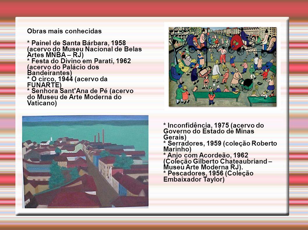 Obras mais conhecidas * Painel de Santa Bárbara, 1958 (acervo do Museu Nacional de Belas Artes MNBA – RJ) * Festa do Divino em Parati, 1962 (acervo do Palácio dos Bandeirantes) * O circo, 1944 (acervo da FUNARTE) * Senhora Sant Ana de Pé (acervo do Museu de Arte Moderna do Vaticano) * Inconfidência, 1975 (acervo do Governo do Estado de Minas Gerais) * Serradores, 1959 (coleção Roberto Marinho) * Anjo com Acordeão, 1962 (Coleção Gilberto Chateaubriand – Museu Arte Moderna RJ).