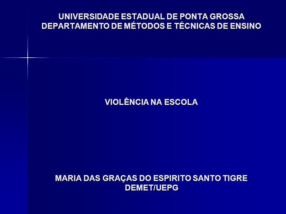 UNIVERSIDADE ESTADUAL DE PONTA GROSSA DEPARTAMENTO DE MÉTODOS E TÉCNICAS DE ENSINO VIOLÊNCIA NA ESCOLA MARIA DAS GRAÇAS DO ESPIRITO SANTO TIGRE DEMET/