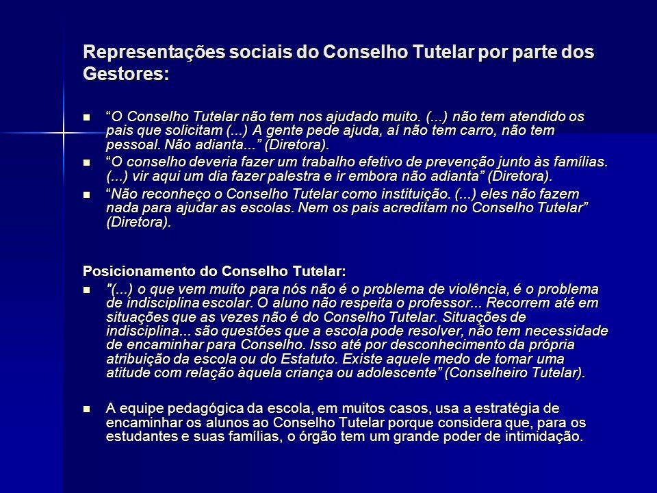 Representações sociais do Conselho Tutelar por parte dos Gestores: O Conselho Tutelar não tem nos ajudado muito. (...) não tem atendido os pais que so
