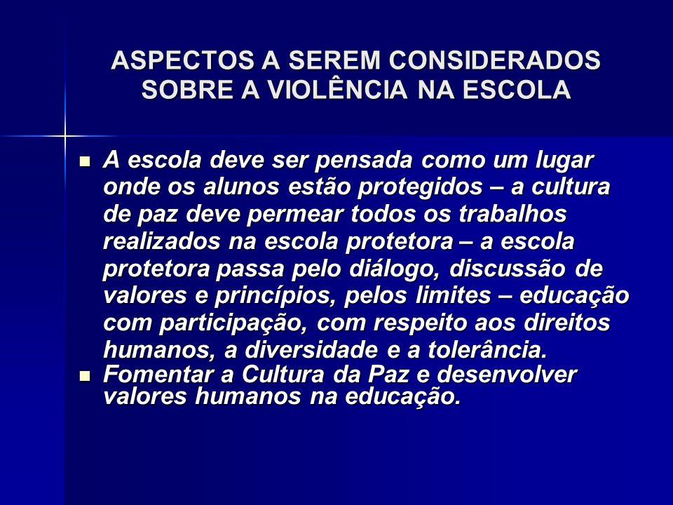 ASPECTOS A SEREM CONSIDERADOS SOBRE A VIOLÊNCIA NA ESCOLA A escola deve ser pensada como um lugar onde os alunos estão protegidos – a cultura de paz d