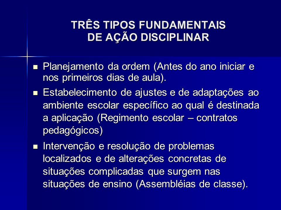 TRÊS TIPOS FUNDAMENTAIS DE AÇÃO DISCIPLINAR Planejamento da ordem (Antes do ano iniciar e nos primeiros dias de aula). Planejamento da ordem (Antes do