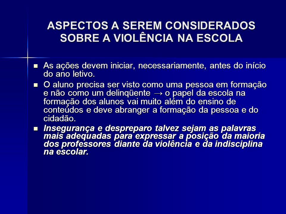 ASPECTOS A SEREM CONSIDERADOS SOBRE A VIOLÊNCIA NA ESCOLA As ações devem iniciar, necessariamente, antes do início do ano letivo. As ações devem inici
