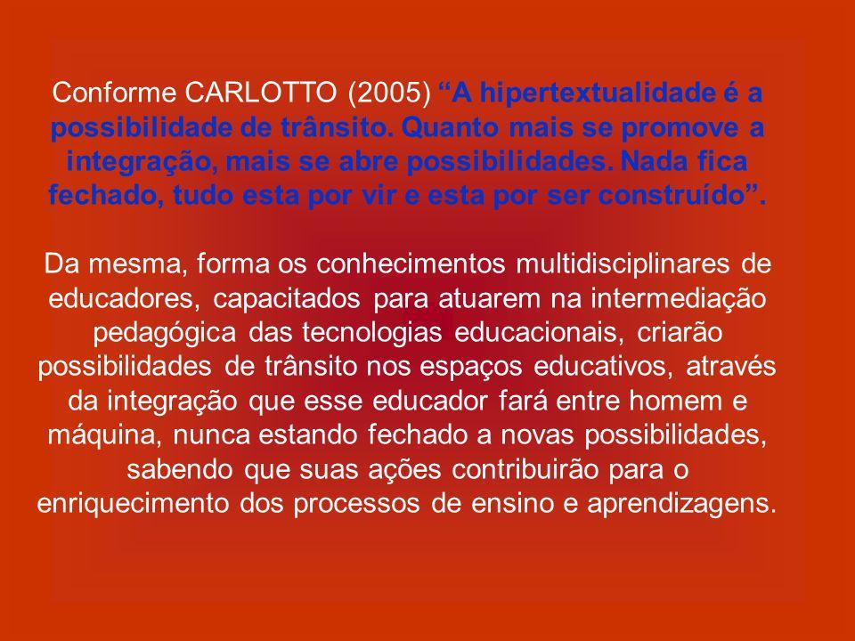 Conforme CARLOTTO (2005) A hipertextualidade é a possibilidade de trânsito. Quanto mais se promove a integração, mais se abre possibilidades. Nada fic