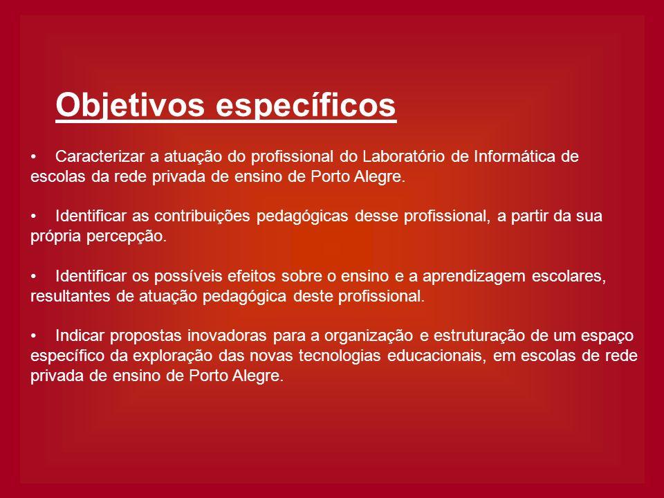 Objetivos específicos Caracterizar a atuação do profissional do Laboratório de Informática de escolas da rede privada de ensino de Porto Alegre. Ident