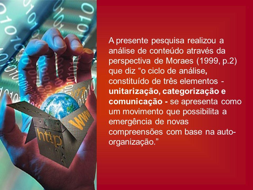 A presente pesquisa realizou a análise de conteúdo através da perspectiva de Moraes (1999, p.2) que diz o ciclo de análise, constituído de três elemen