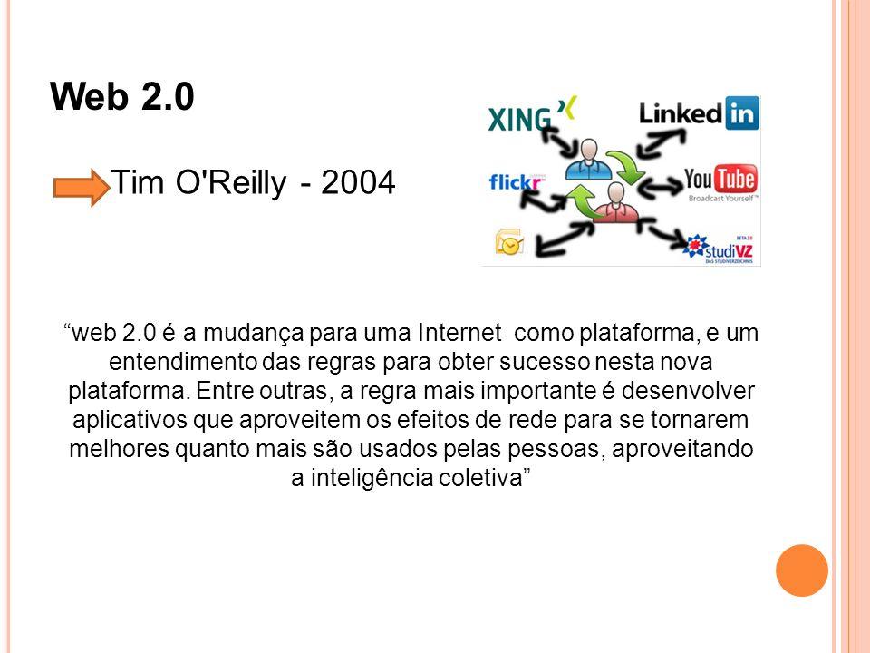 Web 2.0 web 2.0 é a mudança para uma Internet como plataforma, e um entendimento das regras para obter sucesso nesta nova plataforma. Entre outras, a