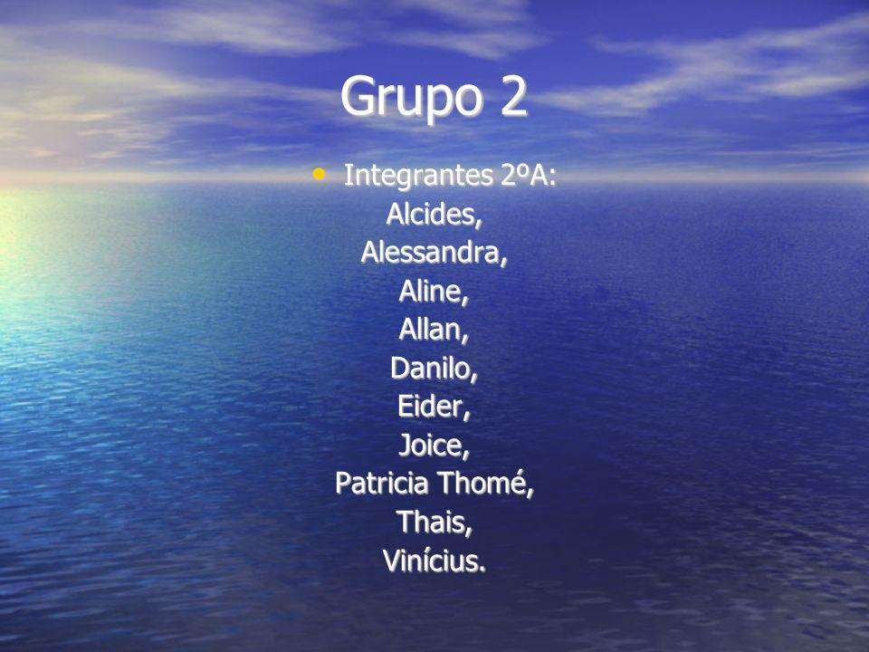 Grupo 2 Integrantes 2ºA: Integrantes 2ºA:Alcides,Alessandra,Aline,Allan,Danilo,Eider,Joice, Patricia Thomé, Thais,Vinícius.