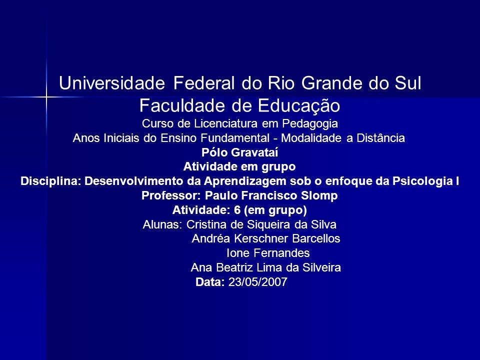 Universidade Federal do Rio Grande do Sul Faculdade de Educação Curso de Licenciatura em Pedagogia Anos Iniciais do Ensino Fundamental - Modalidade a