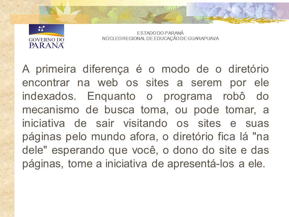 ESTADO DO PARANÁ NÚCLEO REGIONAL DE EDUCAÇÃO DE GUARAPUAVA A primeira diferença é o modo de o diretório encontrar na web os sites a serem por ele indexados.
