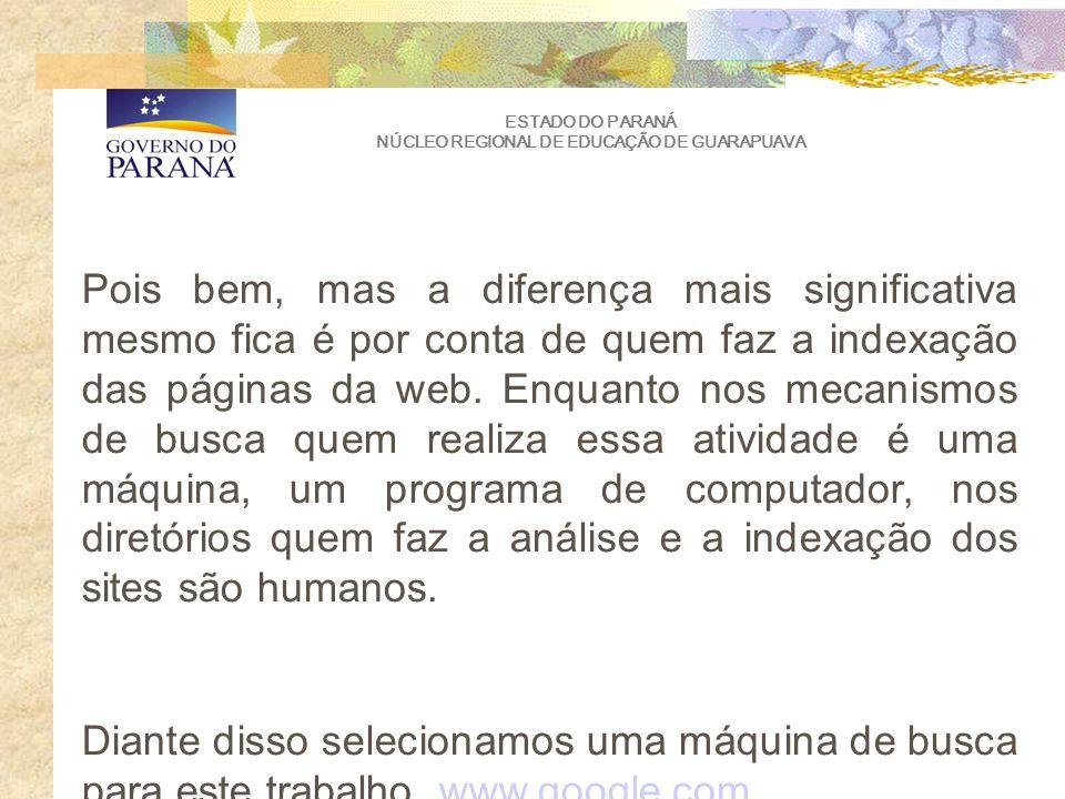 ESTADO DO PARANÁ NÚCLEO REGIONAL DE EDUCAÇÃO DE GUARAPUAVA Pois bem, mas a diferença mais significativa mesmo fica é por conta de quem faz a indexação das páginas da web.