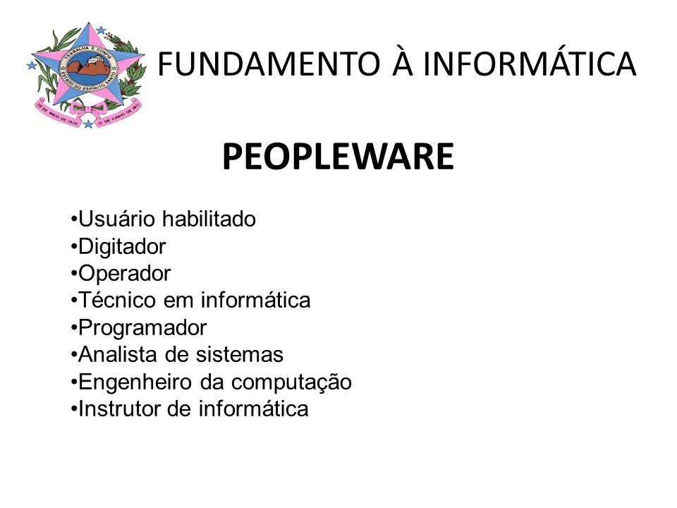 PEOPLEWARE Usuário habilitado Digitador Operador Técnico em informática Programador Analista de sistemas Engenheiro da computação Instrutor de informá