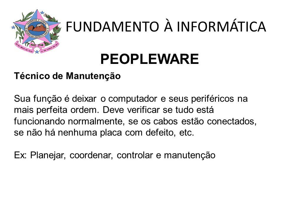 FUNDAMENTO À INFORMÁTICA Operador É aquele que utiliza o computador para as mais variadas funções.