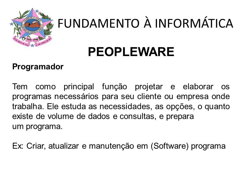 FUNDAMENTO À INFORMÁTICA Programador Tem como principal função projetar e elaborar os programas necessários para seu cliente ou empresa onde trabalha.
