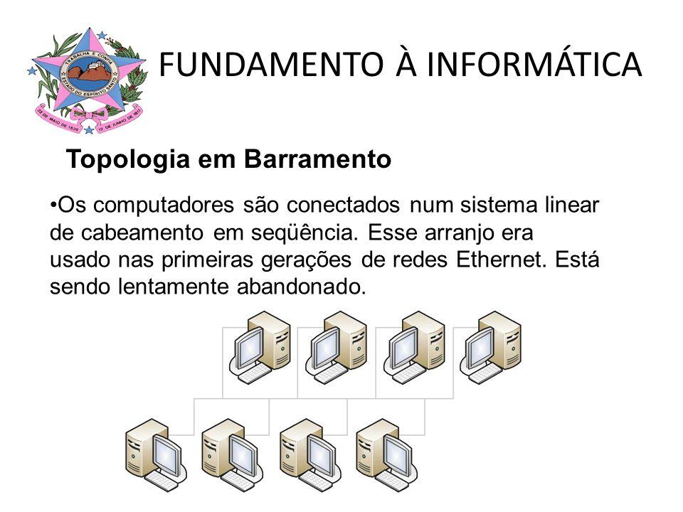 FUNDAMENTO À INFORMÁTICA Topologia em Barramento Os computadores são conectados num sistema linear de cabeamento em seqüência. Esse arranjo era usado