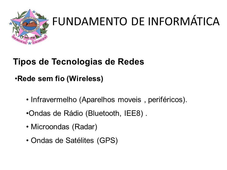 FUNDAMENTO DE INFORMÁTICA Rede sem fio (Wireless) Infravermelho (Aparelhos moveis, periféricos). Ondas de Rádio (Bluetooth, IEE8). Microondas (Radar)