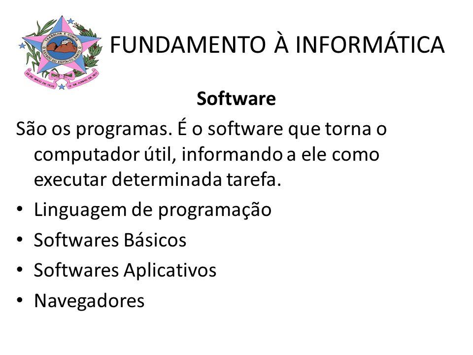 FUNDAMENTO À INFORMÁTICA Software Linguagem de Programação São programas com a função especial de criar outros programas.
