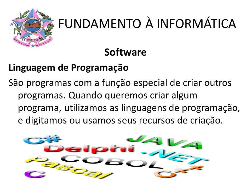 FUNDAMENTO À INFORMÁTICA Software Linguagem de Programação São programas com a função especial de criar outros programas. Quando queremos criar algum