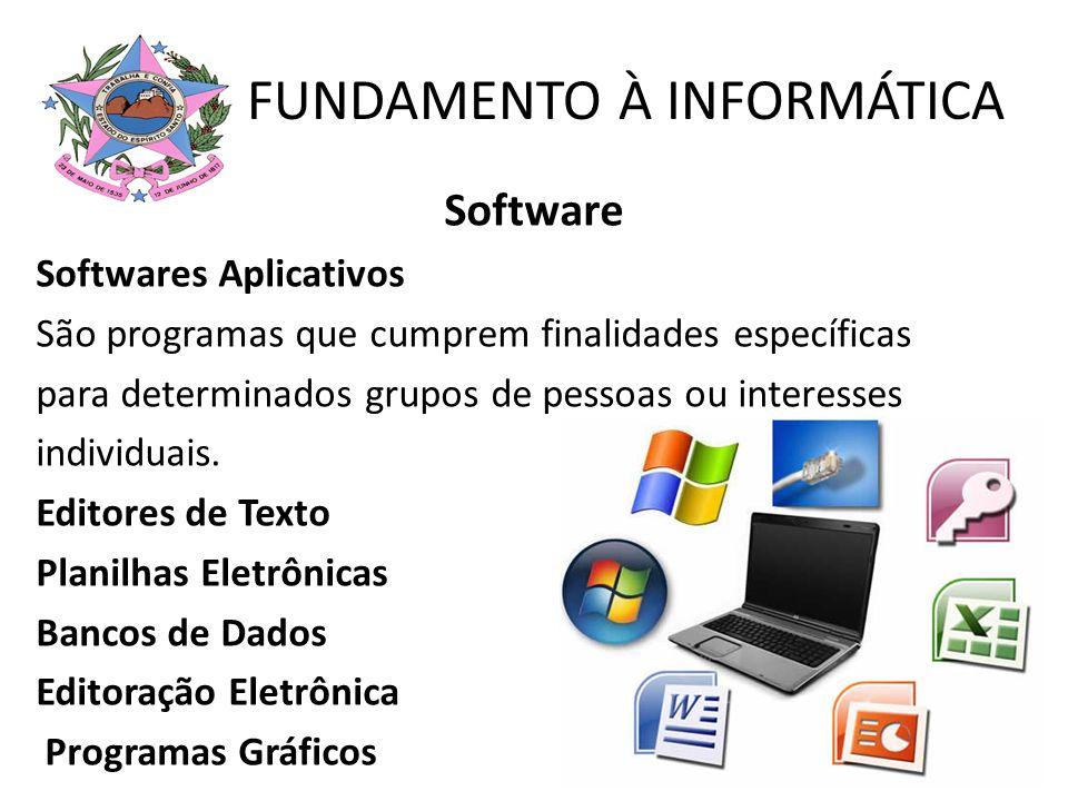 Software Softwares Aplicativos São programas que cumprem finalidades específicas para determinados grupos de pessoas ou interesses individuais. Editor