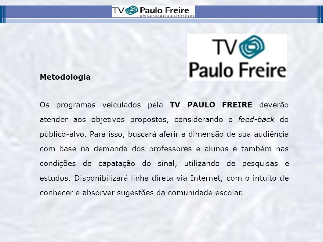 Metodologia Os programas veiculados pela TV PAULO FREIRE deverão atender aos objetivos propostos, considerando o feed-back do público-alvo. Para isso,