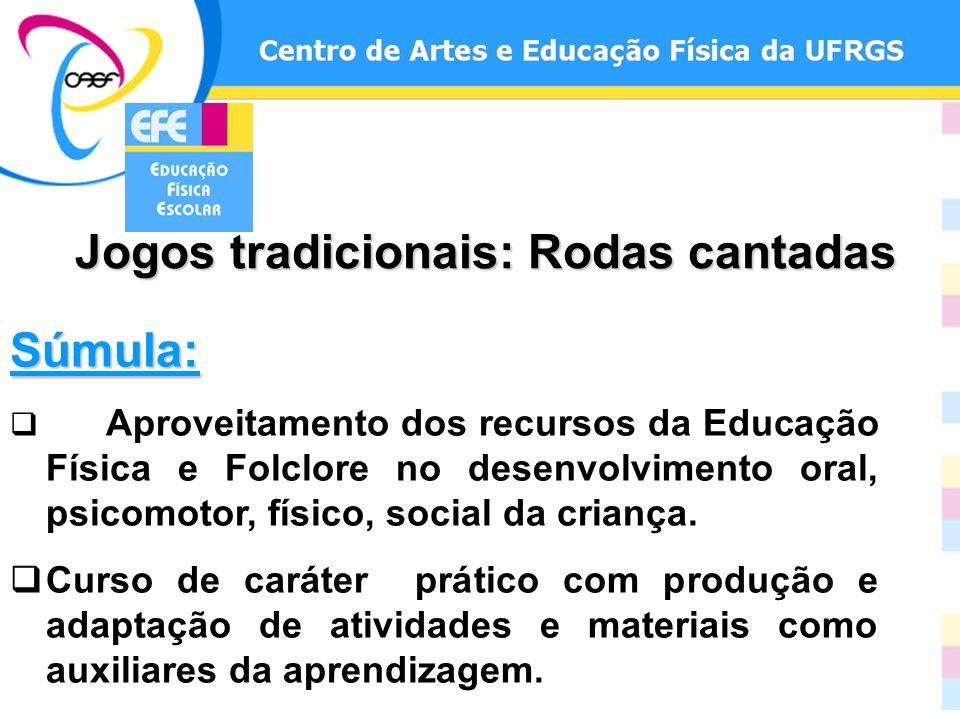 Jogos tradicionais: Rodas cantadas Súmula: Aproveitamento dos recursos da Educação Física e Folclore no desenvolvimento oral, psicomotor, físico, soci