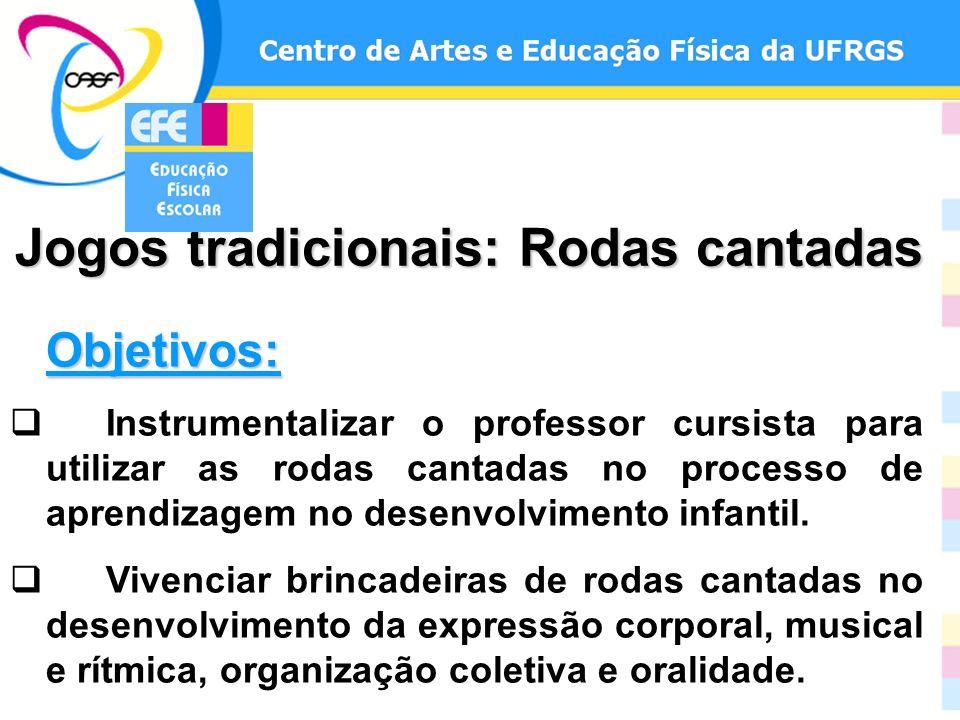 Objetivos: Instrumentalizar o professor cursista para utilizar as rodas cantadas no processo de aprendizagem no desenvolvimento infantil. Vivenciar br