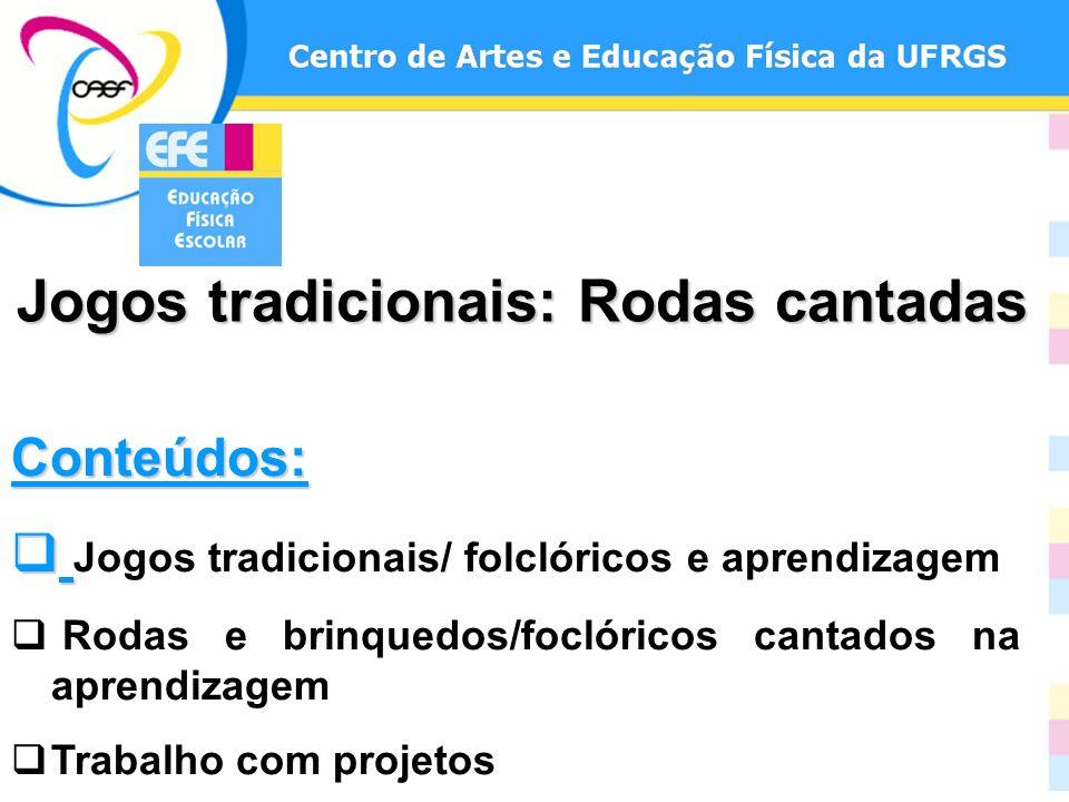Conteúdos: Jogos tradicionais/ folclóricos e aprendizagem Rodas e brinquedos/foclóricos cantados na aprendizagem Trabalho com projetos Jogos tradicion