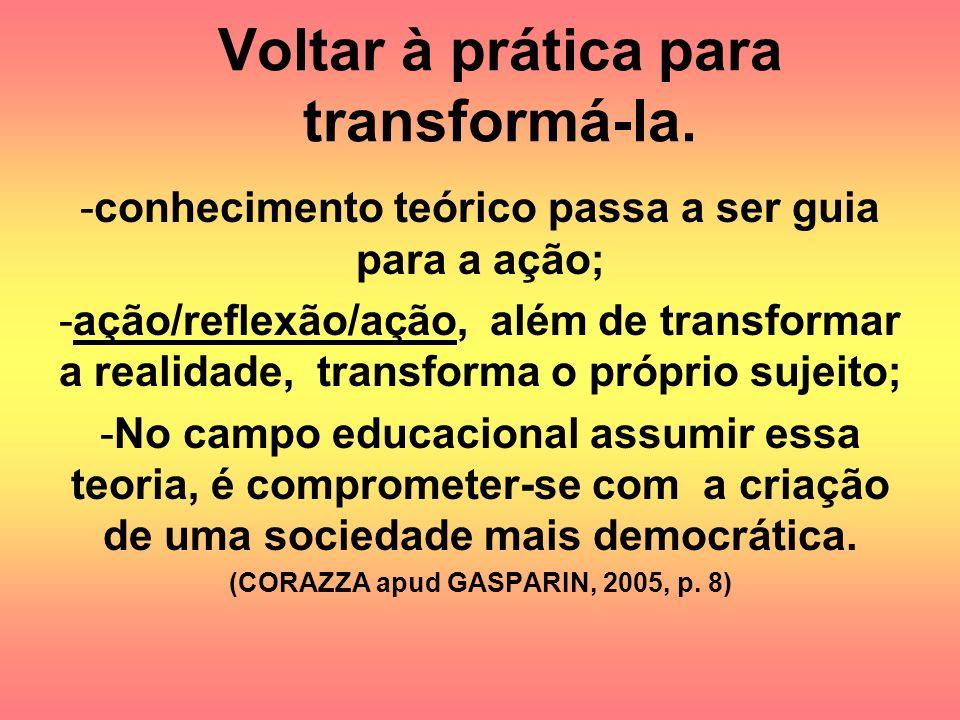 Voltar à prática para transformá-la. -conhecimento teórico passa a ser guia para a ação; -ação/reflexão/ação, além de transformar a realidade, transfo