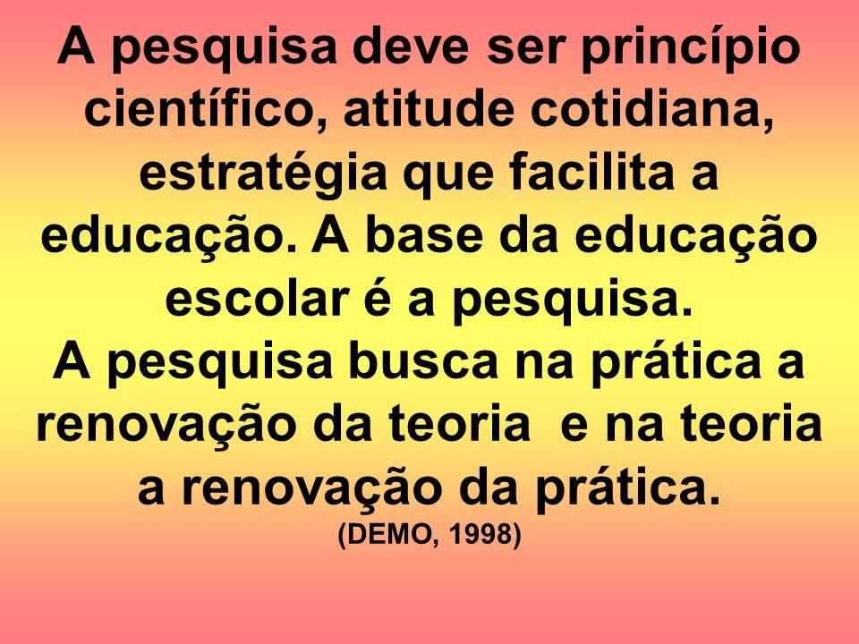 A pesquisa deve ser princípio científico, atitude cotidiana, estratégia que facilita a educação. A base da educação escolar é a pesquisa. A pesquisa b