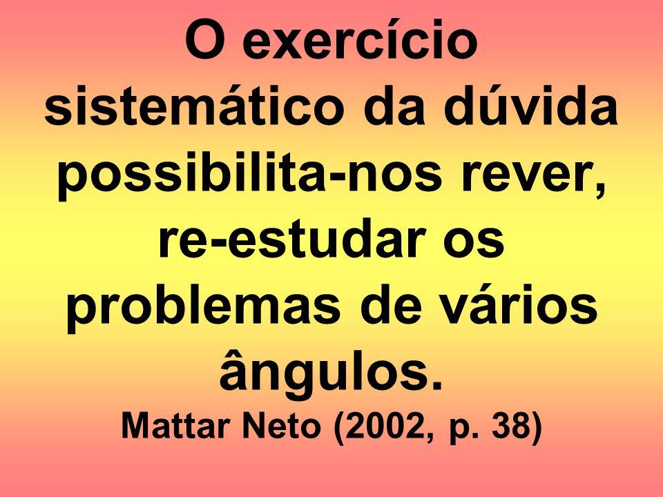 O exercício sistemático da dúvida possibilita-nos rever, re-estudar os problemas de vários ângulos. Mattar Neto (2002, p. 38)