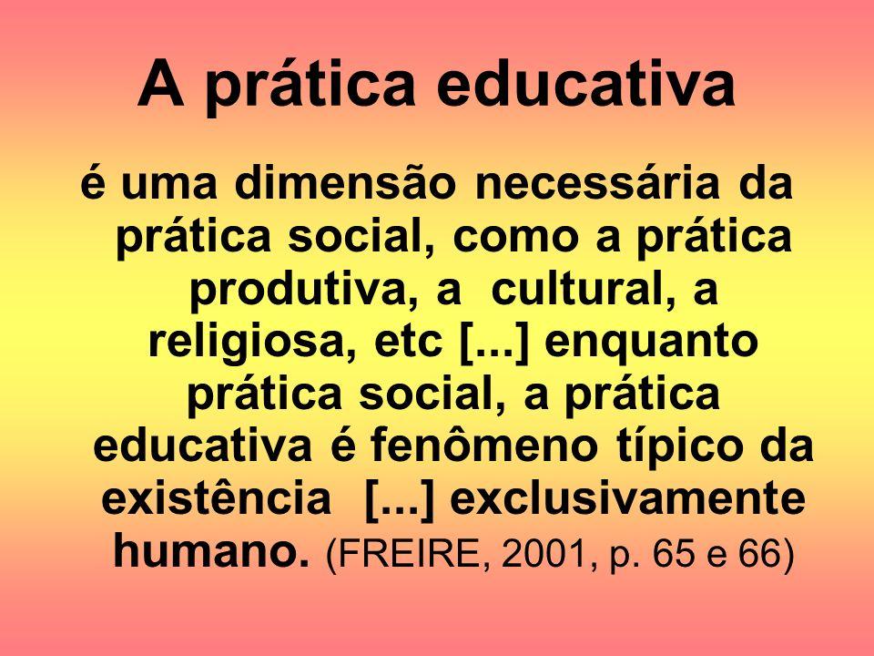 A prática educativa é uma dimensão necessária da prática social, como a prática produtiva, a cultural, a religiosa, etc [...] enquanto prática social,