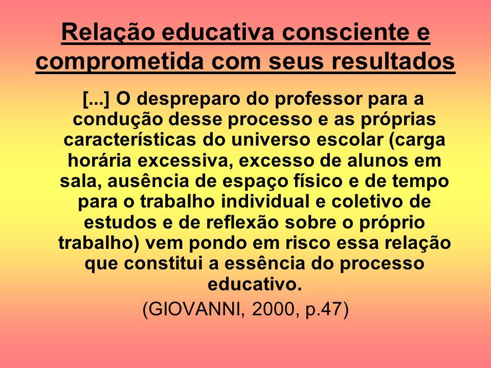 Relação educativa consciente e comprometida com seus resultados [...] O despreparo do professor para a condução desse processo e as próprias caracterí