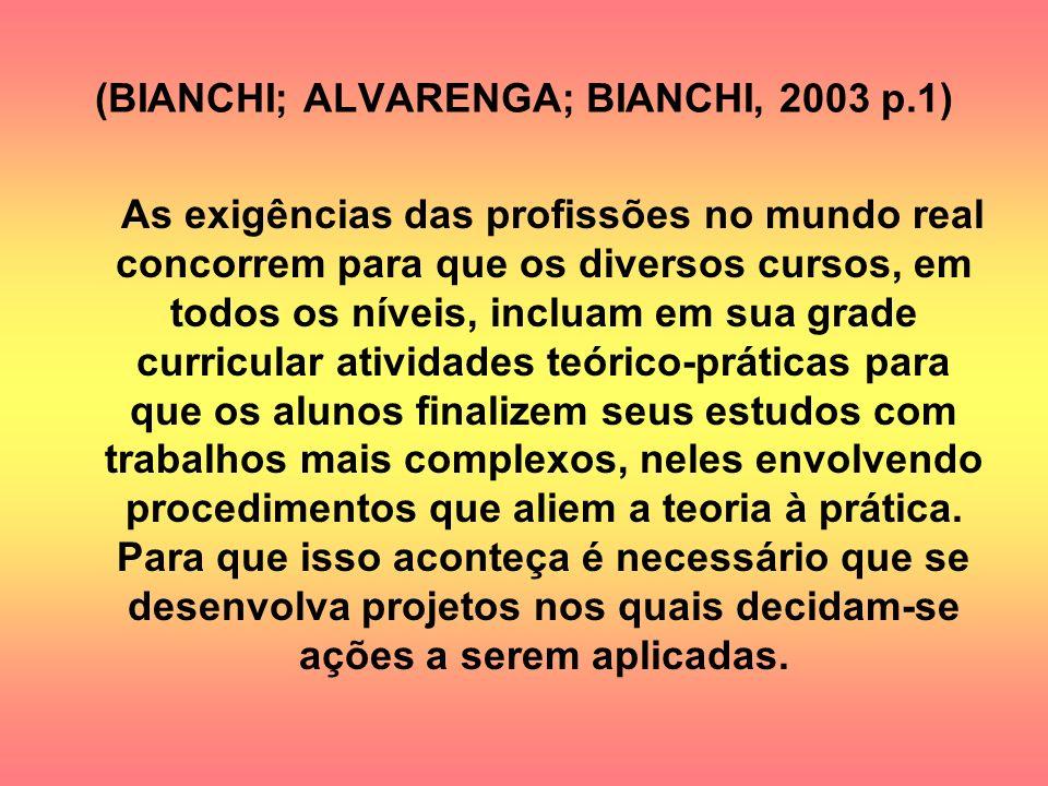(BIANCHI; ALVARENGA; BIANCHI, 2003 p.1) As exigências das profissões no mundo real concorrem para que os diversos cursos, em todos os níveis, incluam