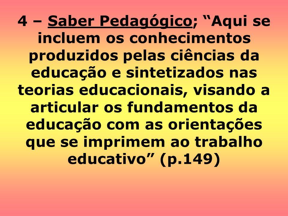 4 – Saber Pedagógico; Aqui se incluem os conhecimentos produzidos pelas ciências da educação e sintetizados nas teorias educacionais, visando a articu