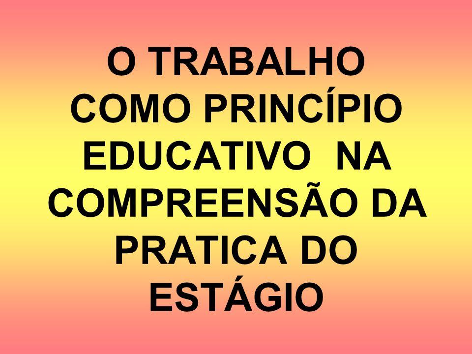 O TRABALHO COMO PRINCÍPIO EDUCATIVO NA COMPREENSÃO DA PRATICA DO ESTÁGIO