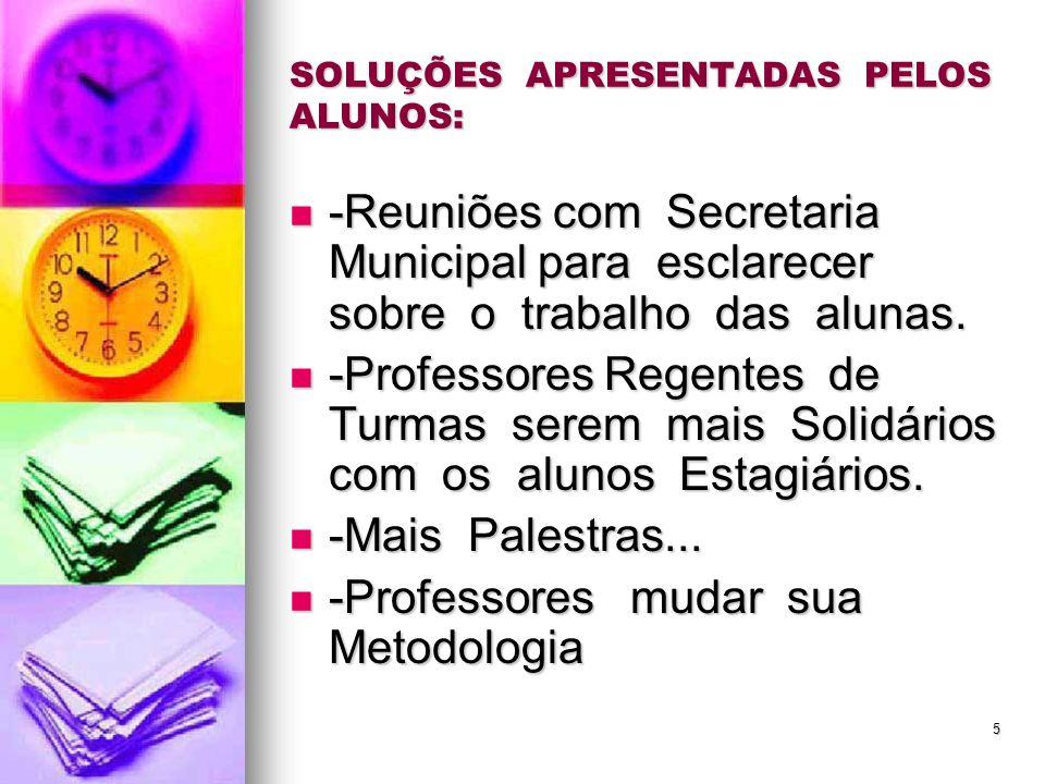 5 SOLUÇÕES APRESENTADAS PELOS ALUNOS: -Reuniões com Secretaria Municipal para esclarecer sobre o trabalho das alunas. -Reuniões com Secretaria Municip