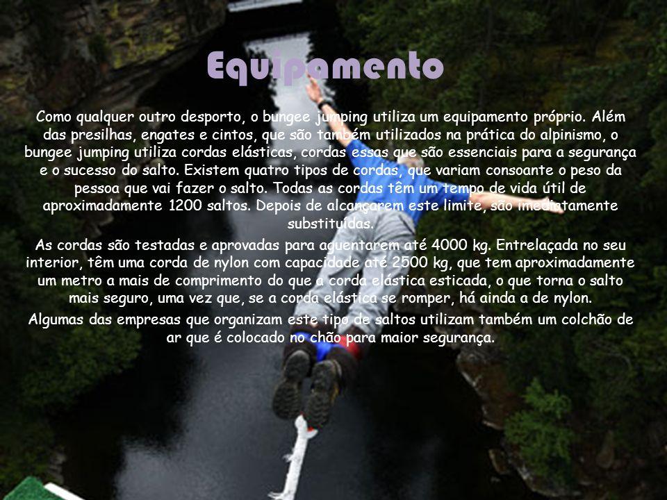 Equipamento Como qualquer outro desporto, o bungee jumping utiliza um equipamento próprio. Além das presilhas, engates e cintos, que são também utiliz