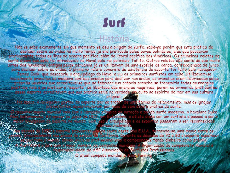 Surf História Não se sabe exatamente em que momento se deu a origem do surfe, sabe-se porém que esta prática de deslizar sobre as ondas há muito tempo