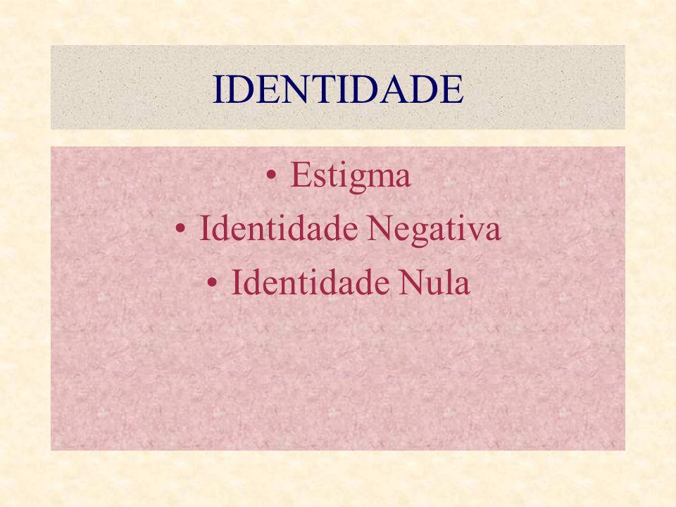 IDENTIDADE Estigma Identidade Negativa Identidade Nula