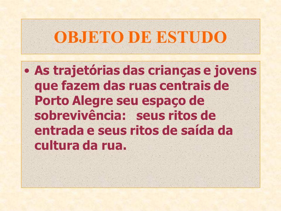 OBJETO DE ESTUDO As trajetórias das crianças e jovens que fazem das ruas centrais de Porto Alegre seu espaço de sobrevivência:seus ritos de entrada e seus ritos de saída da cultura da rua.