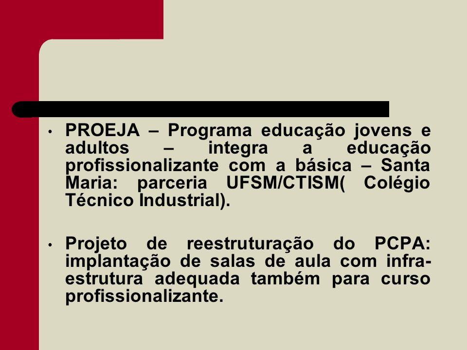 PROEJA – Programa educação jovens e adultos – integra a educação profissionalizante com a básica – Santa Maria: parceria UFSM/CTISM( Colégio Técnico I