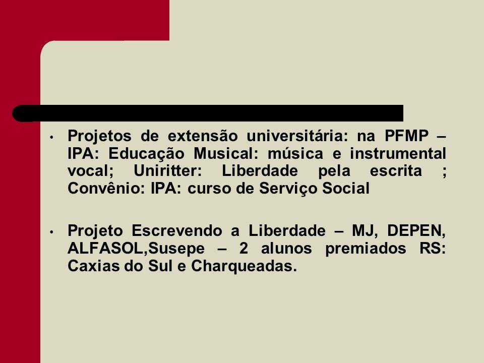 Projetos de extensão universitária: na PFMP – IPA: Educação Musical: música e instrumental vocal; Uniritter: Liberdade pela escrita ; Convênio: IPA: c