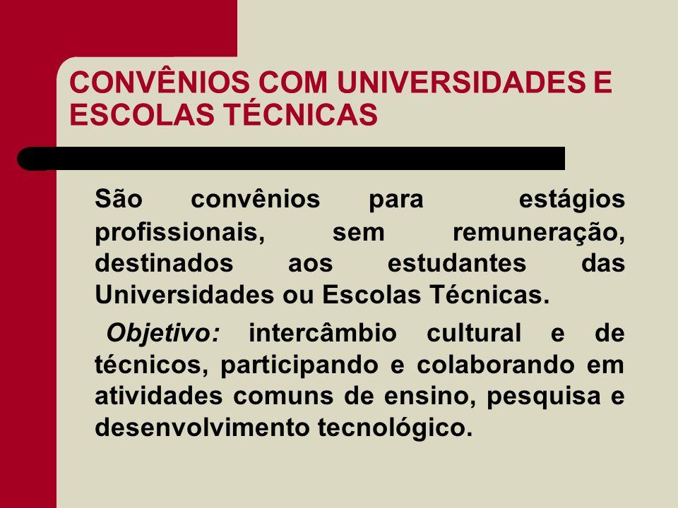 CONVÊNIOS COM UNIVERSIDADES E ESCOLAS TÉCNICAS São convênios para estágios profissionais, sem remuneração, destinados aos estudantes das Universidades